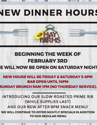 New Dinner Hours